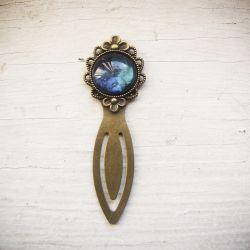 Metalowa zakładka, malowane szkło, niebieska