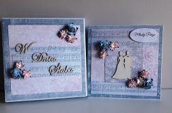 Kartka ślubna wraz z pudełkiem kwiaty nutki