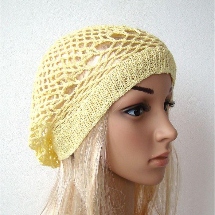 wiosenno-letni ażurowy beret jasnożółty - ażurowa
