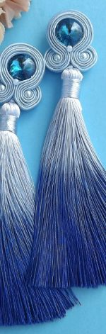 Długie OMBRE Niebieskie Kolczyki sutasz