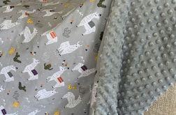 Koc szara lama i szary minky 150x200