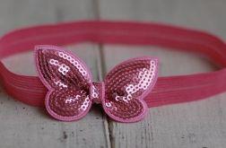 Opaska niemowlęca - Różowy motylek