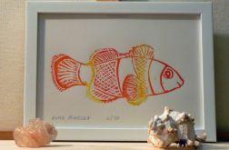 barwna grafika błazenek linoryt 2