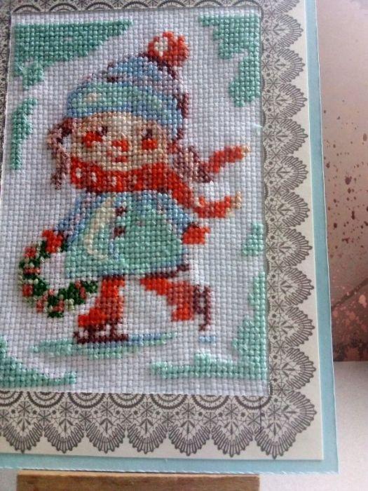 Kartka bożonarodzeniowa -Dziewczynka z wiankiem - zbliżenie na wzór