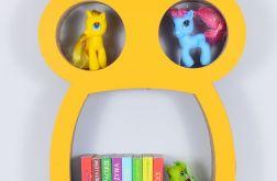 Półka na książki zabawki SOWA | żółty