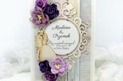 Kartka na Ślub w fiolecie z Parą Młodą