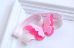 FairyBows * opaska motylek różowy