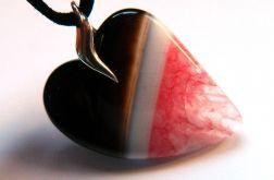 Wisiorek-serce, agat i kryształ, srebro