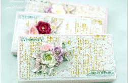 Kartka ślub, kwiaty pudełko, pudro róż
