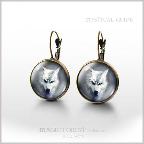 Kolczyki - Biały wilk - bigle angielskie - antyczny brąz