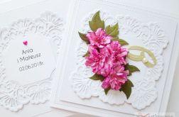 Kartka ŚLUBNA z różowymi kwiatami