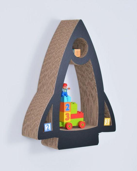 Półka na książki zabawki RAKIETA | czarny