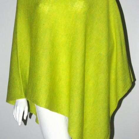 Klasyczne gładkie ponczo zielony neon