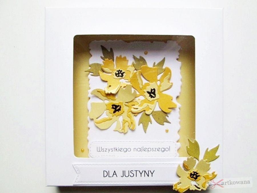 Kartka UNIWERSALNA z żółtymi kwiatami - Uniwersalna kartka z żółtymi kwiatkami