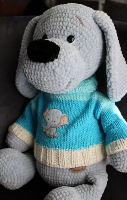 Bąbelek szydełkowy pies - szydełkowa zabawka
