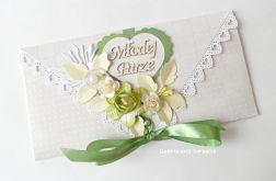 Kopertówka, kartka na ślub beżowo - zielona