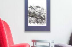 czarno biały rysunek Szkic górski nr14 graf