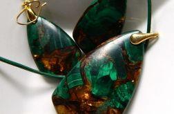 Malachit z pirytem,zestaw biżuterii w złocie