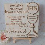 Pamiątka Pierwszej Komunii Świętej - podwójna kartka z życzeniami - przykładowa kartka