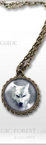 Medalion, naszyjnik - Biały wilk - mały - antyczny brąz