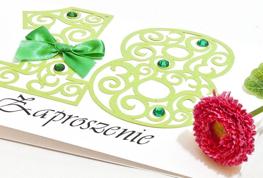 Zaproszenie na 18 osiemnaste urodziny green - zaproszenie na 18 urodziny perosonalizowane