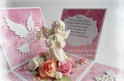 Komunijny box z aniołkiem, różowy