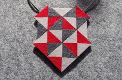 Geometryczny czerwono-szary naszyjnik z filcu
