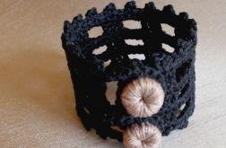 Ażurowa bransoletka - czarny z beżem