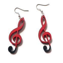 Kolczyki Klucze violinowe, czarno-czerwone