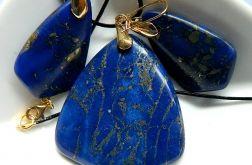 Granatowy jaspis z pirytem, zestaw w złocie