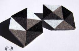 Geometryczne czarno-białe kolczyki z filcu