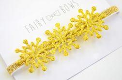 FairyBows opaska złote śnieżynki ŚWIĘTA