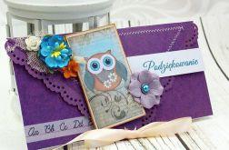 Kartka kopertówka- Podziękowanie w fioletach