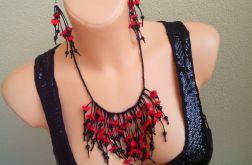 Makowe pole - czarno czerwony naszyjnik i kolczyki z lnu i filcu