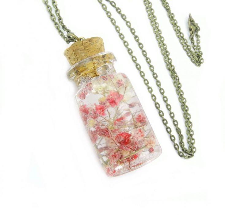 0912-mela/ wisiorek buteleczka z kwiatami -