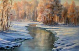 Pejzaż Zima Słońce, ręcznie malowany, olej