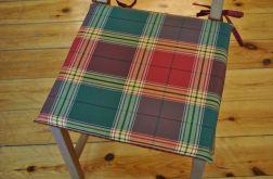 Komplet 4 poduszek na krzesła,siedzisko- rustykalna krata