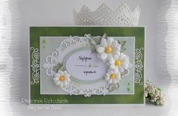 Kartka w zieleniach z margarytkami