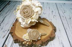 Bukiet ślubny jutowe róże mix kwiatów