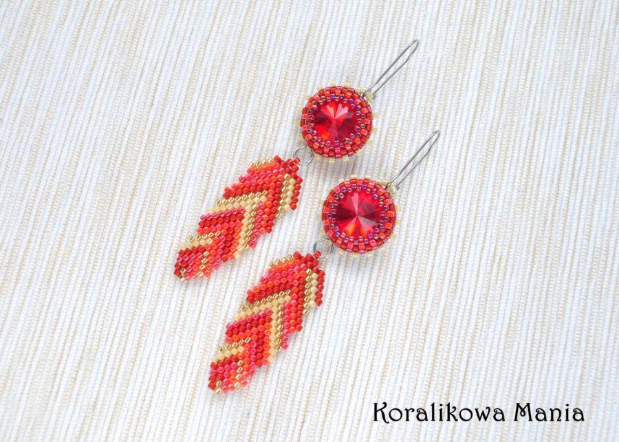 Czerwone piórka - kolczyki