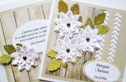 Kartka ŚLUBNA z białymi kwiatkami