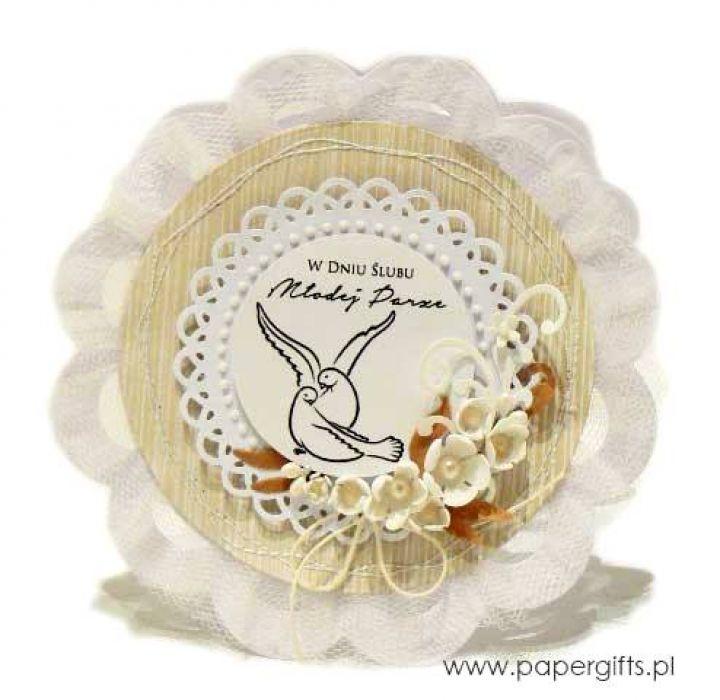 Kartka ślubna z gołębiami kremowa