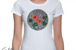 Czerwone kwiaty - t-shirt damski - kolory