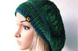 ażurowy beret w zieleniach