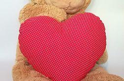 Poduszka serce czerwona w groszki