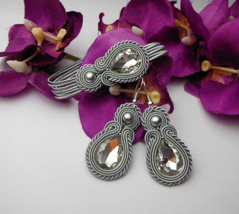 Biżuteria soutache sutasz komplet szary siwy