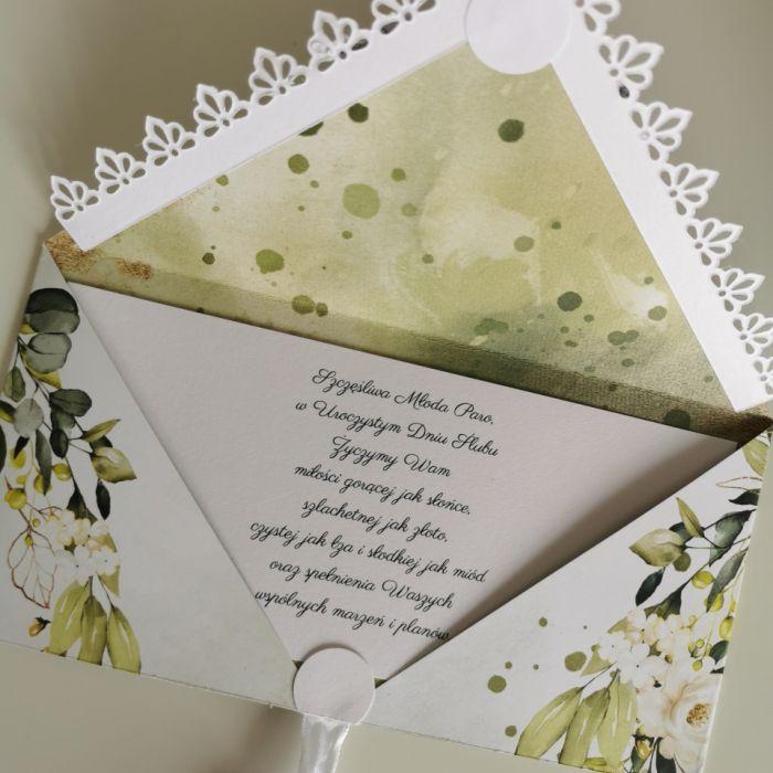 Kartka ślubna kopertowa kopertówka floral XV Mr&Mrs - życzenia