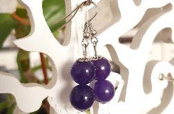 Kolczyki handmade fioletowe z dwoma kuleczkami