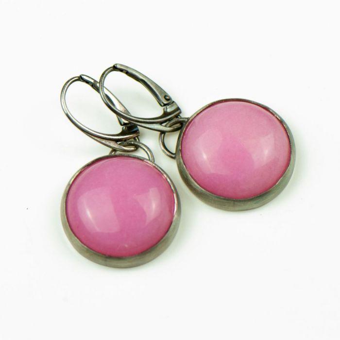 Kolczyki ze srebra z różowym jadeitem Alda - srebrne kolczyki