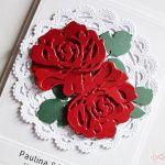 Kartka Ślubna - czerwone róże - Kartka na ślub z czerwonymi różami